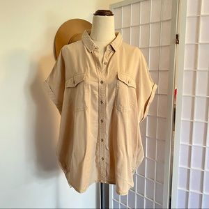 Target Shirt Size 14 Tan Brown Front Pockets Button Down